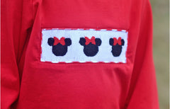 Girls Smocked Minnie Red Shirt Only
