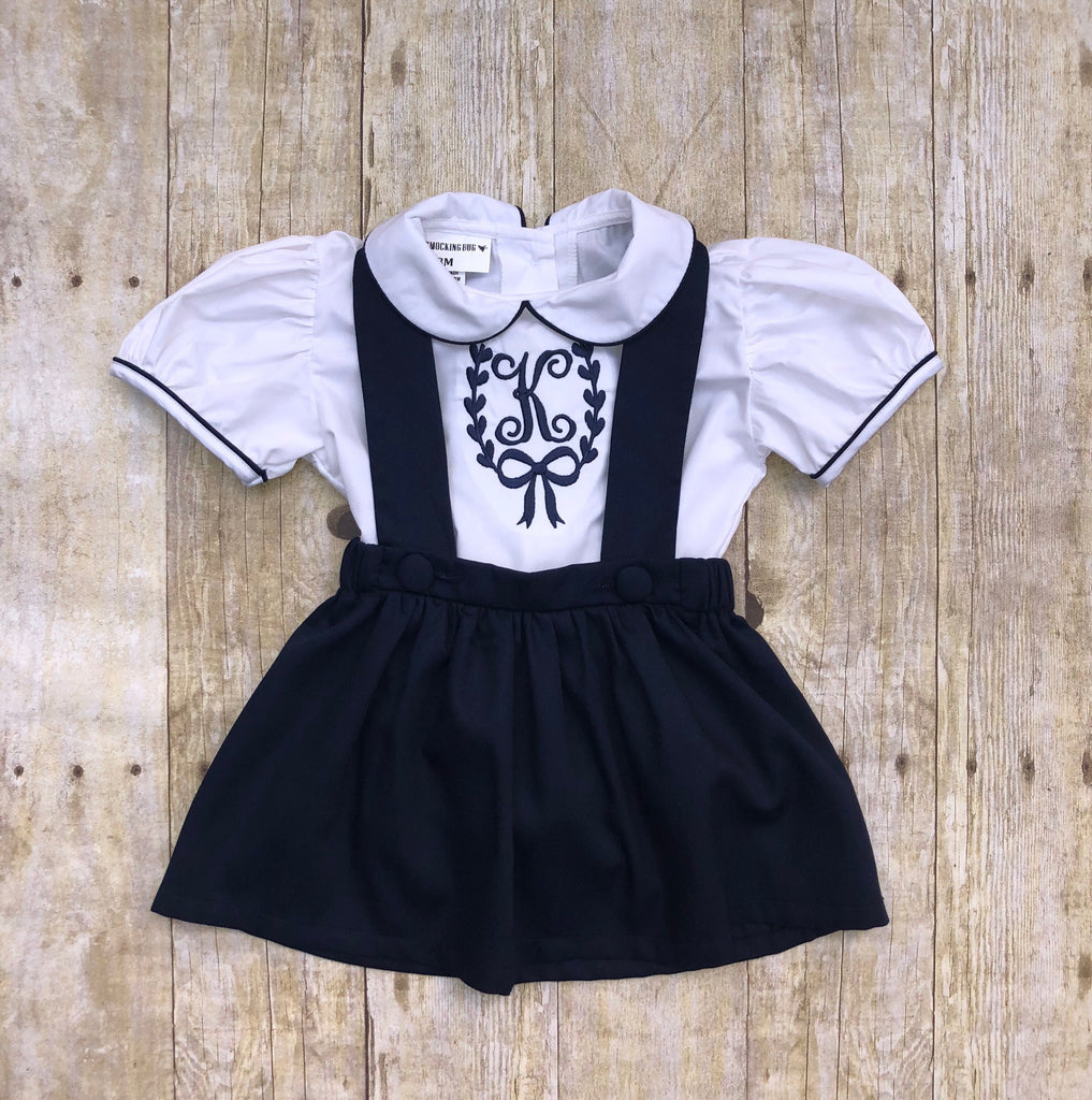 Girls Monogrammable Peter Pan Collar Cambridge Overall Bow Back Skirt