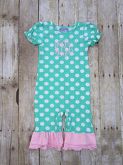 Knit Mint Polka Dotted Monogrammable Romper