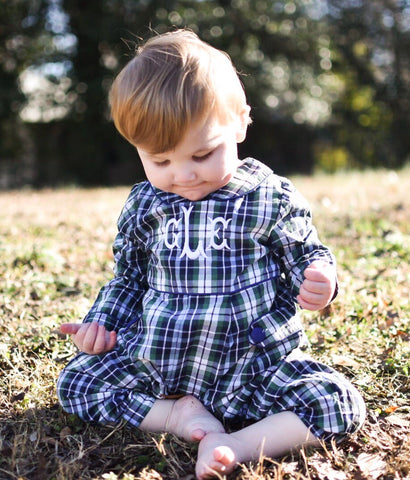 Boys Collared Plaid Monogrammable Long Bubble