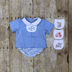 Baby Blue Knit Pleated Removable Tab Top & Blue Striped Diaper Cover