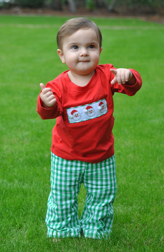 Boys Smocked Santa Red Shirt w/ Green Gingham Pants