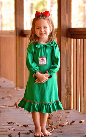 Green Knit Smocked Santa Nightgown