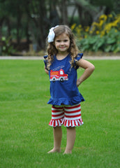 Navy Knit Monogrammable Firetruck Applique Angel Sleeve Top & Red Striped Knit Ruffle Shorts
