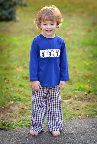 Navy Smocked Buck Shirt & Brown Gingham Pants