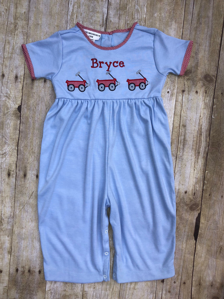 Boys Monogrammable Wagon Trio Romper, Boys Romper, The Smocking Bug, The Smocking Bug