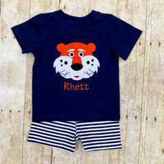 Applique Tiger Monogrammable Boys Short Set, Boys Shorts Set, The Smocking Bug, The Smocking Bug