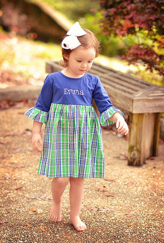 Girls Monogrammable Green & Navy Plaid Dress