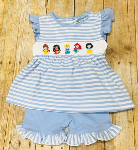 Micro-Striped Baby Blue Knit Smocked Princesses Angel Sleeve Swing Top & Baby Blue Ruffle Shorts