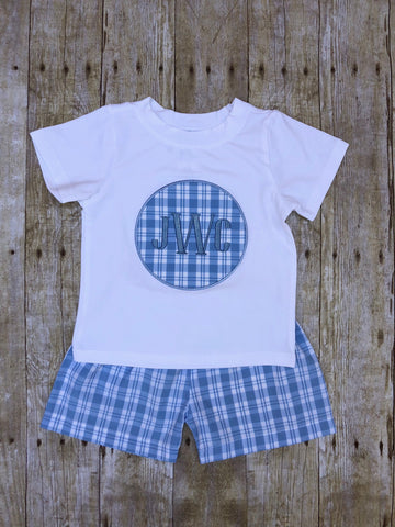 Boys Monogrammable White Pique Circle Patch Applique T-shirt with Blue Plaid Shorts