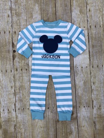 Monogrammable Baby Blue Striped Mouse Pajamas