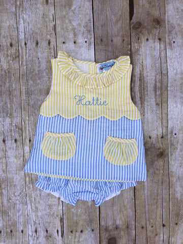 Monogrammable Pale Yellow/Blue Seersucker Pocket Diaper Set