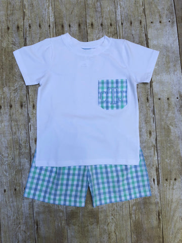 White Monogrammable Pocket T-shirt with Mint/Blue Plaid Shorts