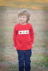 Boys Smocked Sesame Street Red Shirt Only