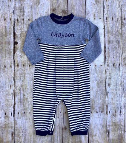 Boys Monogrammable Grey & Navy Striped Romper
