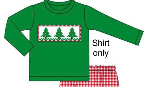 Smocked Christmas Trees Shirt Only