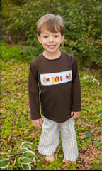 Brown Smocked Pumpkins & Leaves Shirt & Khaki Gingham Pants, Boys Smocked Pants Set, The Smocking Bug, The Smocking Bug