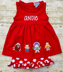 Girls Monogrammable Red Knit Toy Story Appliquéd Tunic Top and Polka Dot Ruffle Shorts