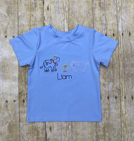 Vintage Stitch Farm Baby Blue Monogrammable Shirt