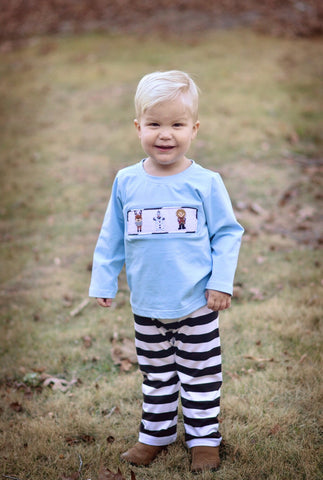 Boys Smocked Frozen Inspired Light Blue Shirt w/ Brown Striped Pants