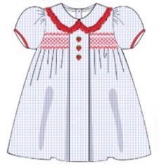 Knit Blue Gingham Embroidered Strawberries Bishop Dress