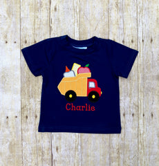 Navy Knit Monogrammable School Dump Truck Applique Shirt