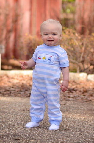 Boys Blue Striped Smocked Water Transportation Knit Romper