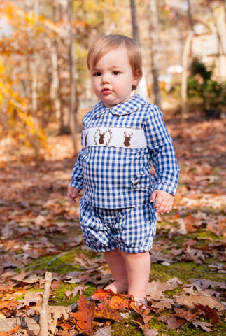 Navy Gingham Smocked Buck Banded Shorts Set