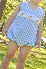Light Blue Gingham Smocked Puppies Unisex Bubble