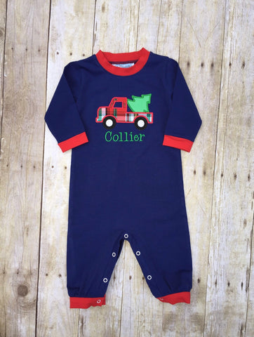 Boys Monogrammable Applique Plaid Christmas Tree Truck Navy Knit Romper