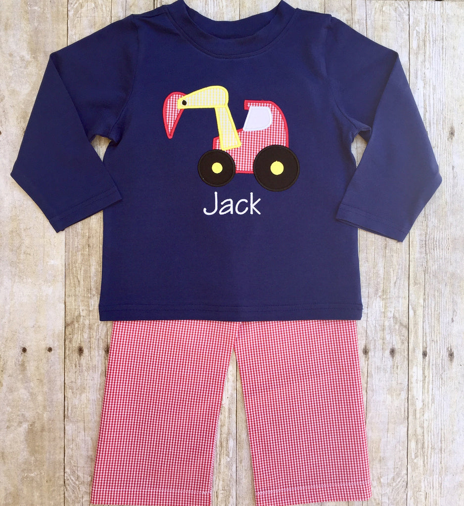 Boys Navy Digger Applique Shirt & Red Gingham Pants