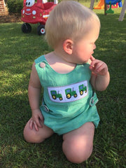 Green Gingham Smocked Tractors Sun Bubble