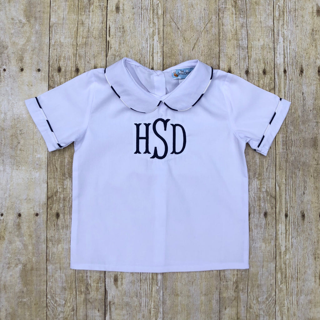 Monogrammable White Collared Shirt