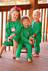 Green Knit Smocked Santa Boys PJ's