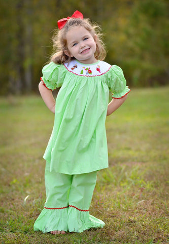 Lime Gingham Smocked Grinch Bishop Swing Top & Ruffle Pants