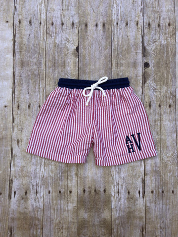 Red Seersucker Monogrammable Swim Trunks with Navy Waistband