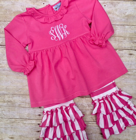 Dark Pink Triple Ruffle Pants Set