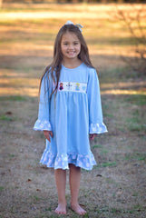 Girls Smocked Frozen Inspired Light Blue Dress with Polka Dot Ruffle