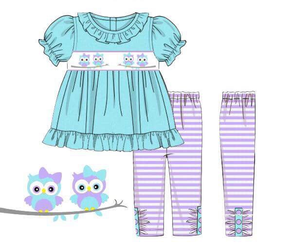Girls Knit Smocked Owls Pant Set