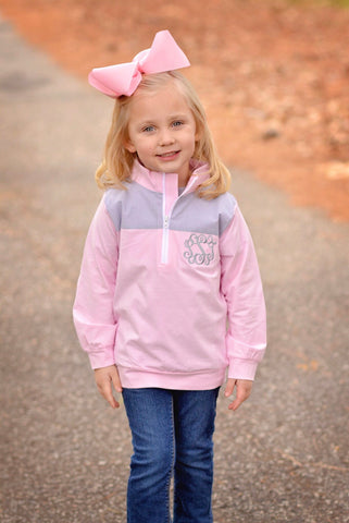 Pink Monogrammable Pullover w/ Gray Gingham Patches