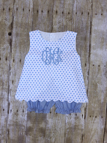 Monogrammable White with Blue Dots Sleeveless Scallop Top & Blue Pique Bloomer Set