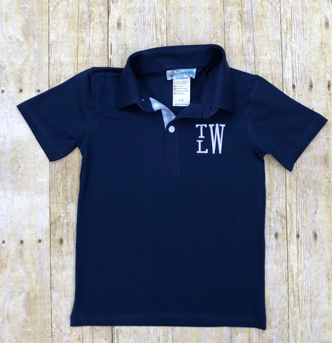 Navy Knit Monogrammable Short Sleeve Polo Shirt