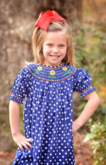 Navy Polka Dotted Smocked Sunflowers Bishop Swing Top & Ruffle Pants