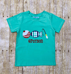 Monogrammable Mint Fishing Lure Applique Shirt