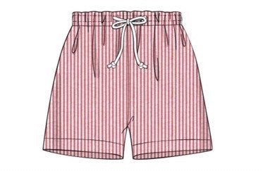 Red Seersucker Lined Swimtrunks