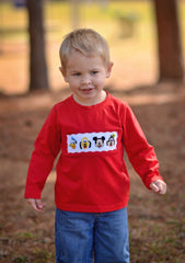 Boys Red Knit Smocked Mouse & Friends Shirt Only