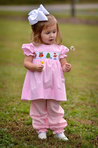Pink Gingham Smocked Nutcracker Bishop Top & Pink Bubble Pants