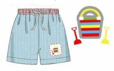 Aqua Seersucker Smocked Buckets & Shovels Swim Trunks