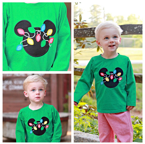 Boys Monogrammable Mickey Inspired Christmas Lights Applique Green Shirt Only