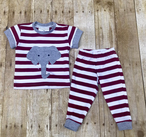 Boys Crimson Stripe Knit Applique Elephant PJ Pants & Short Sleeve Shirt